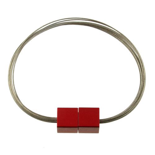 6171-1 - Magnetic Cube Bracelet Matte Silver/Red
