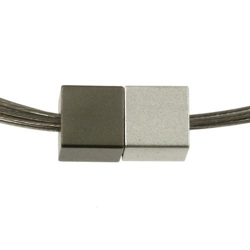 5117-44 - Magnetic Cube Pendant Matte Silver/Matte Gunmetal