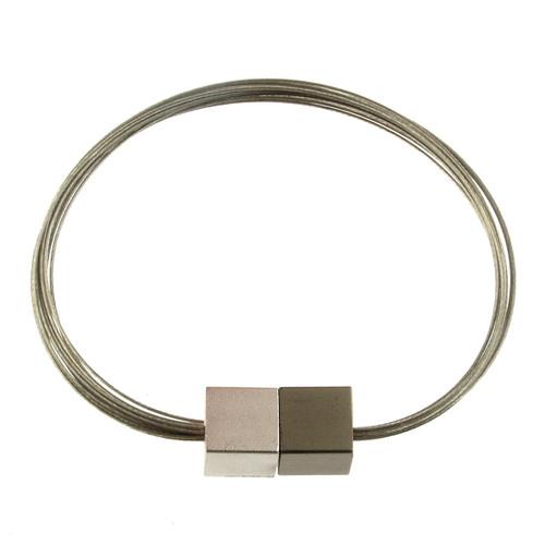 6171-44 - Magnetic Cube Bracelet Matte Silver/Matte Gunmetal