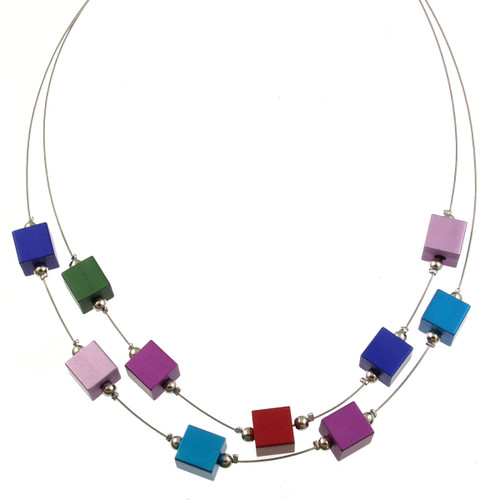 5144-2 - Multi-Cube Magnetic Two-strand Necklace Multi-Color
