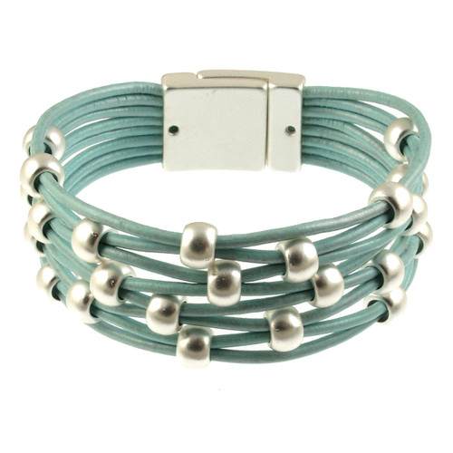 5128-106 - Matte Silver/Light Blue Woven Magnetic Bracelet