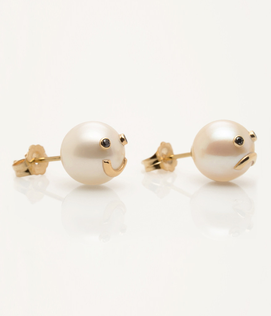 Cultured Freshwater Pearl Earrings with 14k Gold & Black Diamond ...