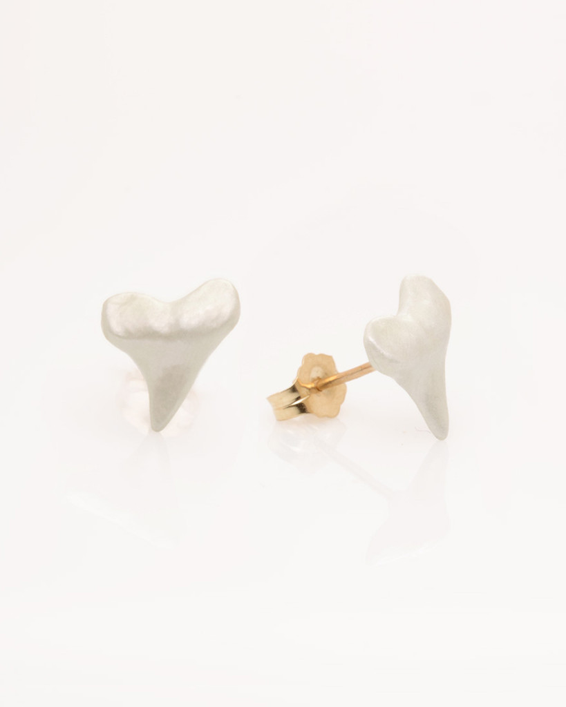 Our Best Selling Cruelty- Free Shark Teeth Earrings with 14k Gold Post (Solid Sterling Silver coated with White Pearl Enamel) by Nektar De Stagni.