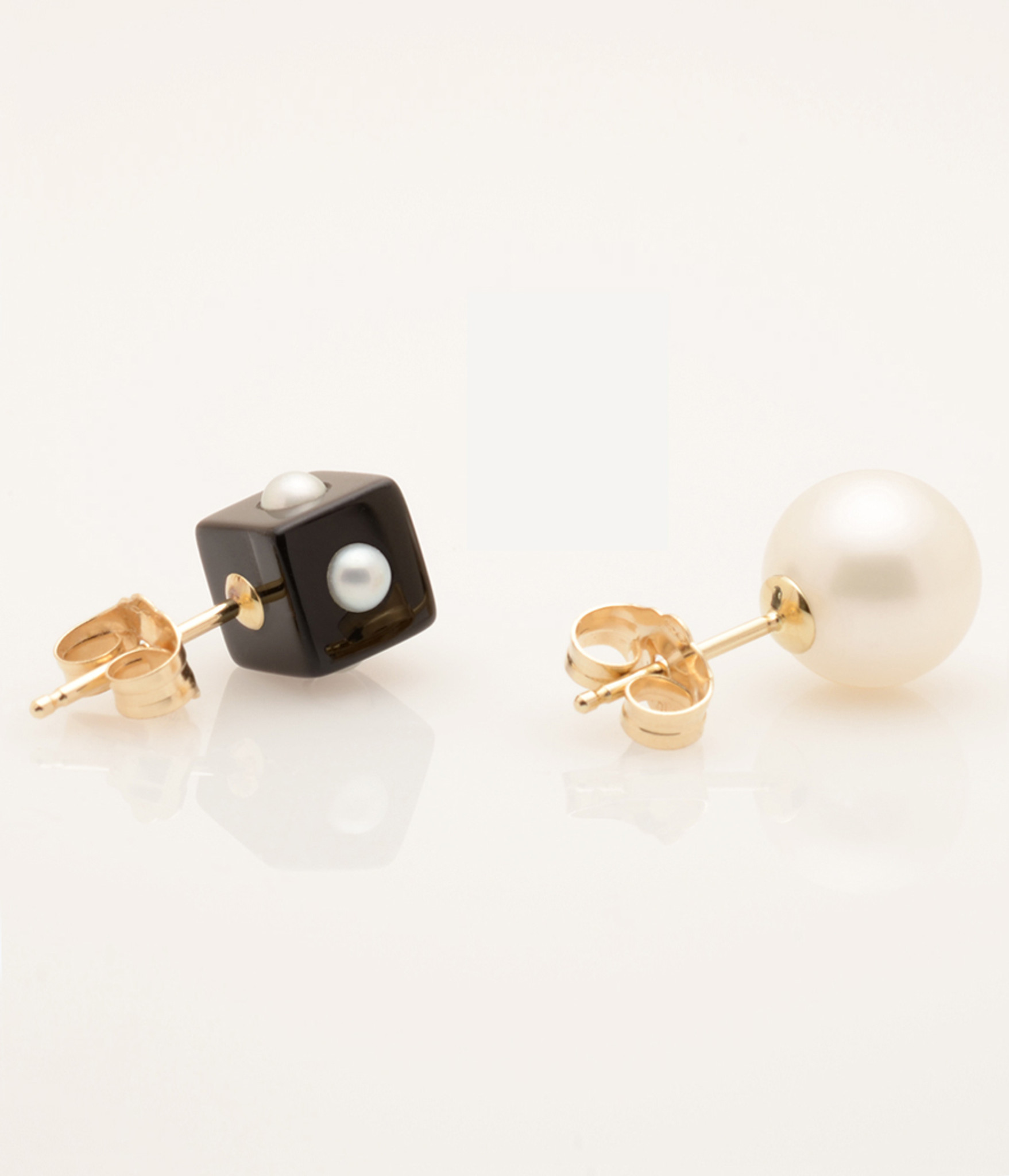 Mini Pearl Onyx Cube & Pearl Earring with 14k Gold Post by Jewelry ...