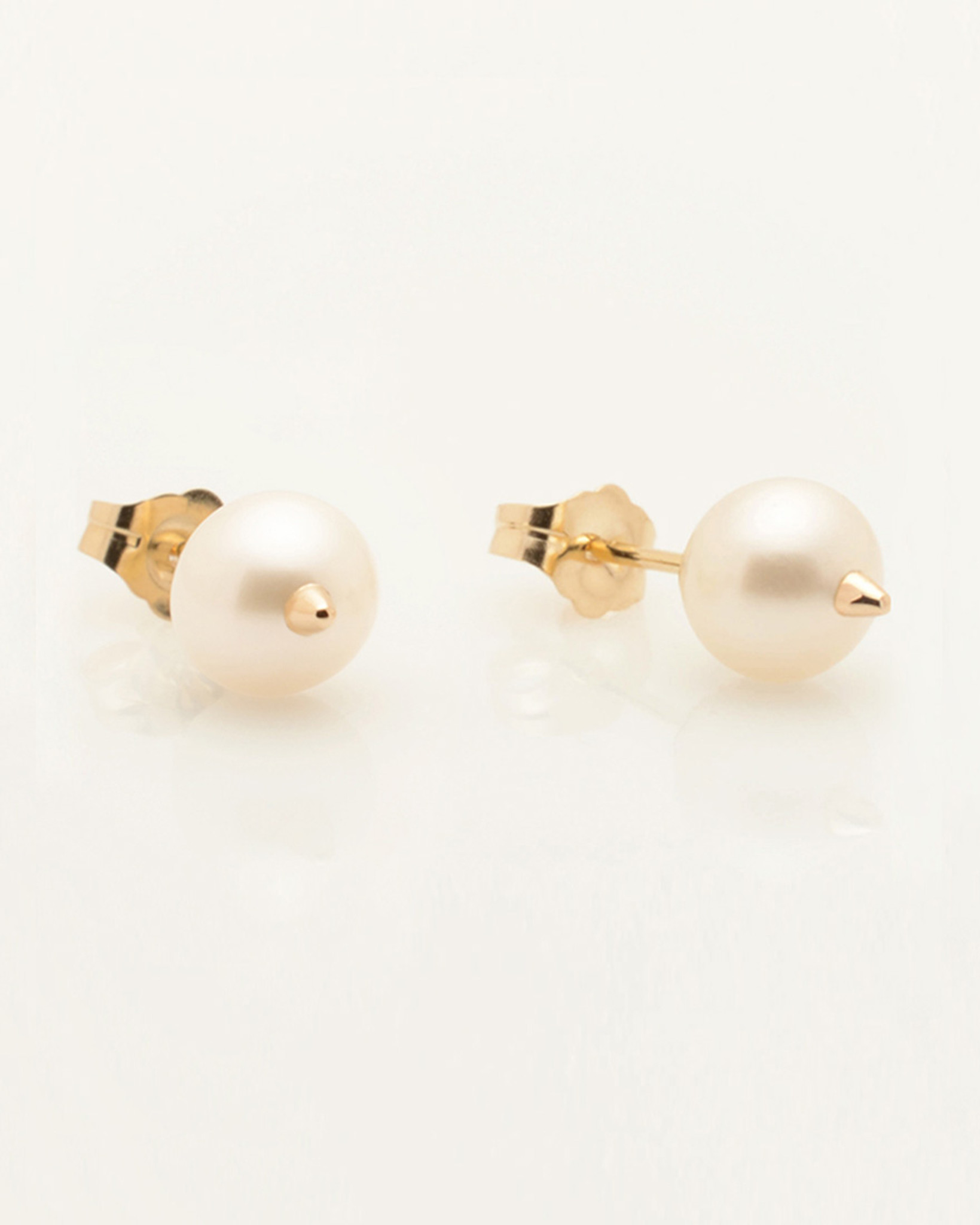 Cultured Freshwater Pearl Earrings with 14k Gold Spikes and Posts by Nektar De Stagni (6.5 mm)