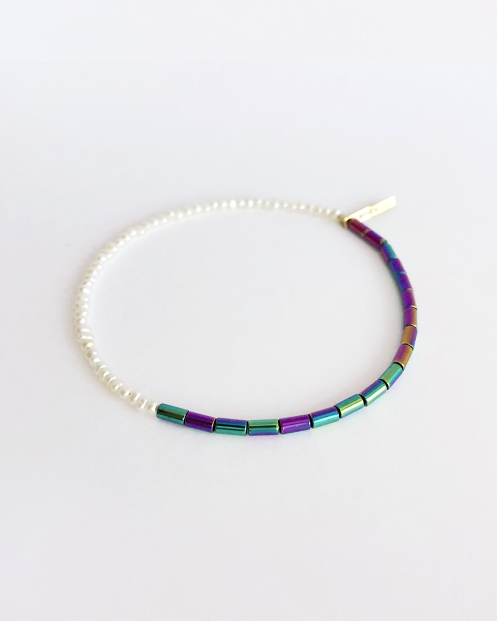 Seed Pearl and Rainbow Bead Bracelet by Designer Nektar De Stagni