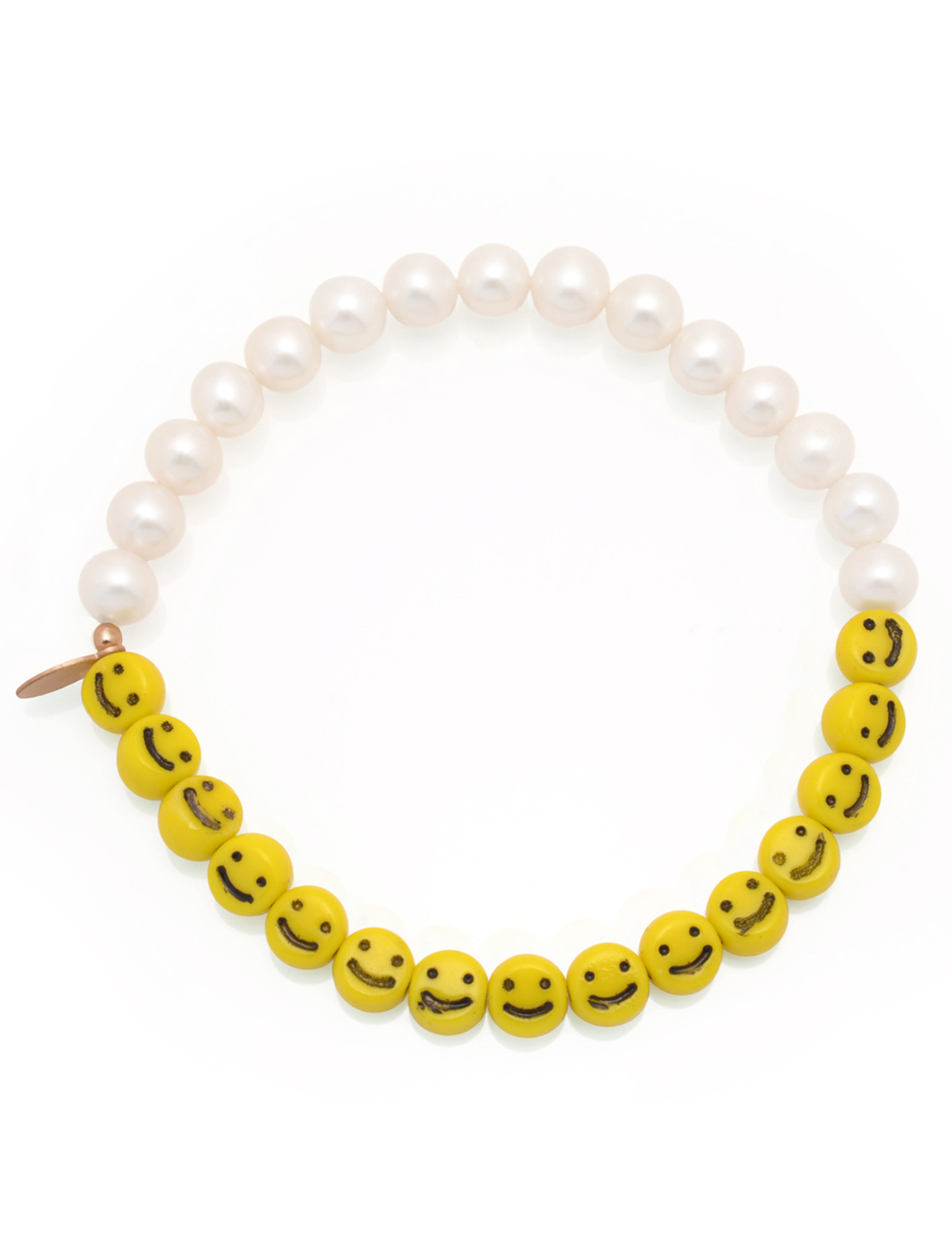 Front view of Cultured Freshwater Pearl Bracelet with Smiley Face Emoji Glass Beads by Jewelry Designer Nektar De Stagni