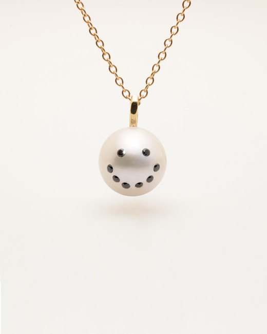 Cultured pearl pendant necklace with diamond smiley emoji by nektar write a review aloadofball Image collections