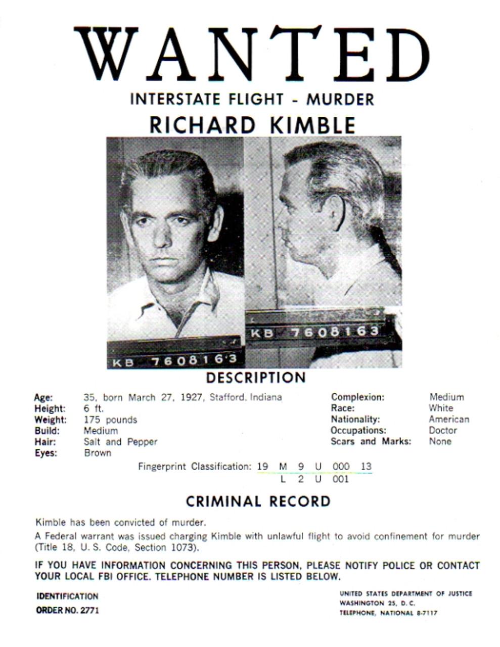 The Fugitive TV Series Real Prop Wanted Poster, David Jansen - Reel Art
