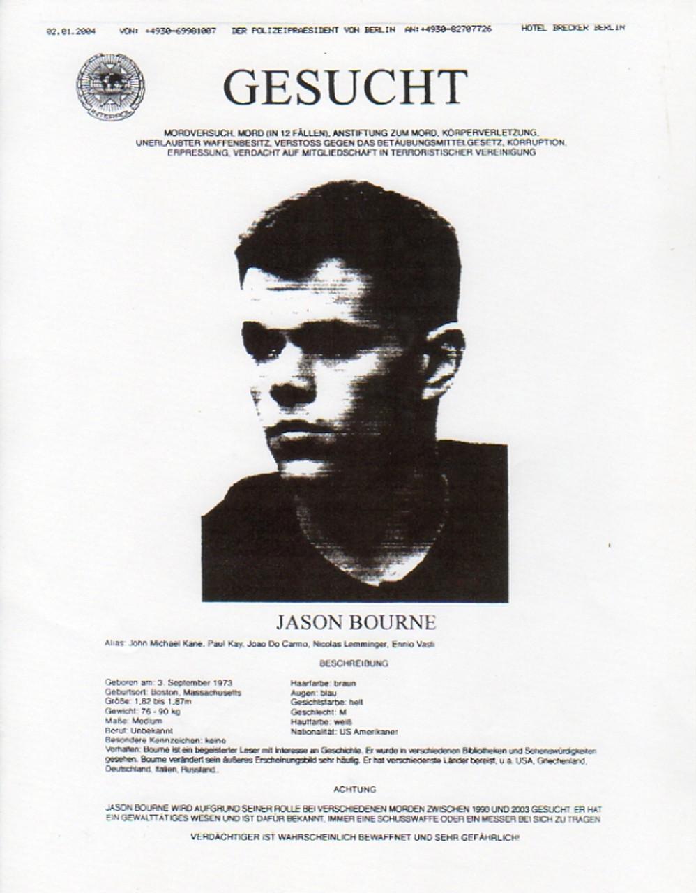 The Bourne Supremacy, Real Prop Wanted Poster, Matt Damon - Reel Art