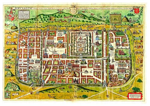 Ancient Templar Color Map of Jerusalem B, Shows old Sites