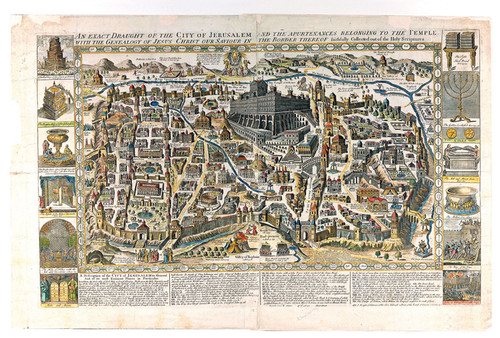 Ancient Graphic Color Map of Jerusalem 1770, Style A, Shows Ancient Religious Sites, PDF Download