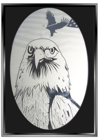 Bald Eagle Etched Pattern Decorative Window Decal
