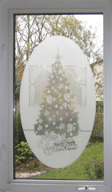 xSEASONAL: Christmas Tree Etched Pattern Static Cling Window Decal