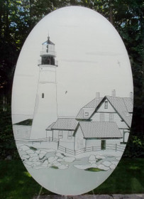 Portland Head Lighthouse Etched Pattern Decorative Window Decal