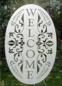Welcome Etched Pattern Decorative Window Decal