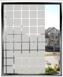 "Geometric - Apex 1 3/8"" White Squares - DIY Decorative Window Film"