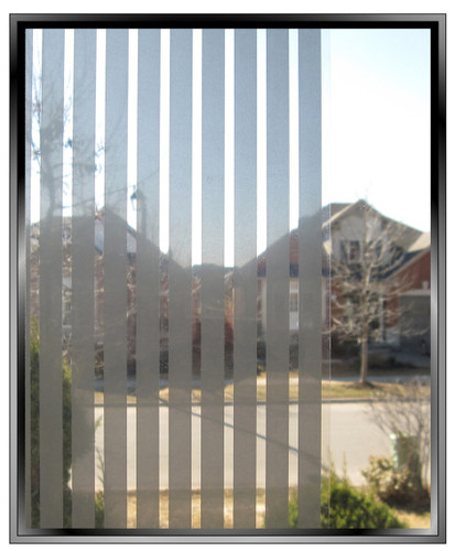 Geometric 3/8th Inch Silver Vertical Stripes - DIY Decorative Window Film
