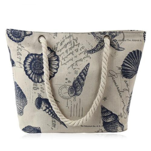 Seashell Print Canvas Beach Bag