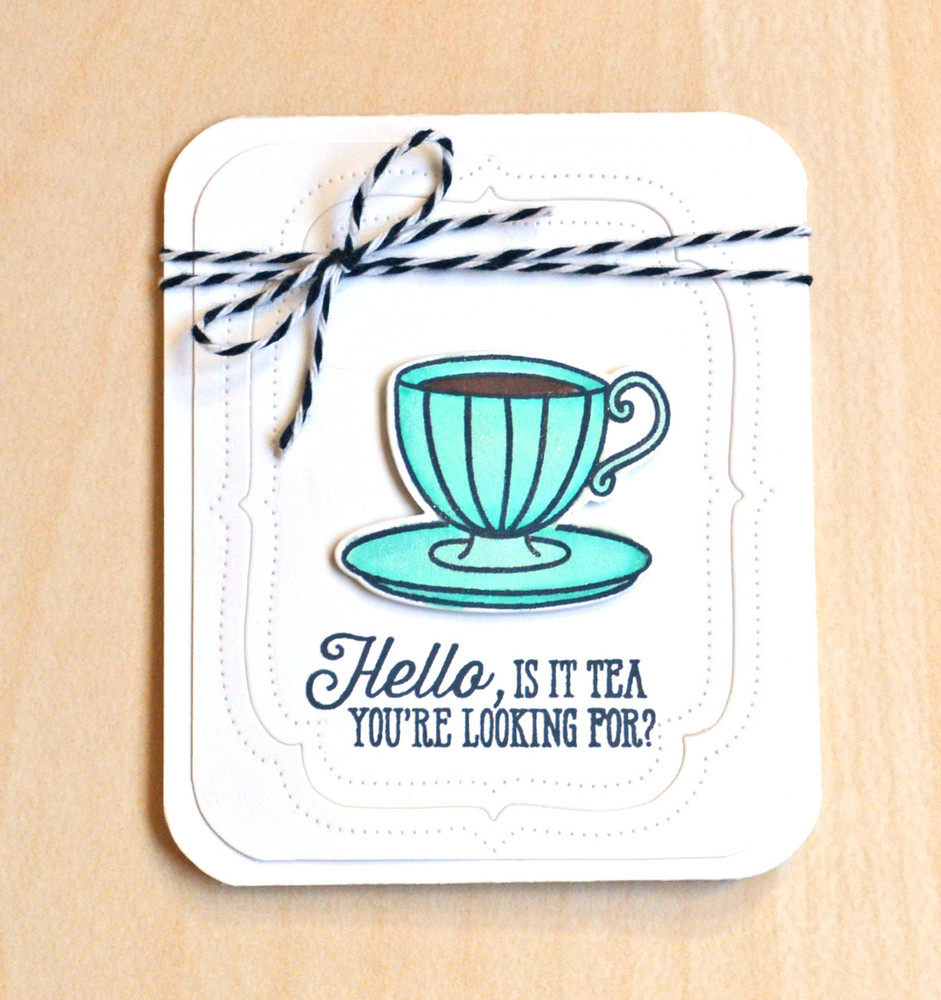 By Jamie Gracz for Avery Elle Inc.  Tea Time Clear Stamps & Dies.  You're Invited Elle-ments Dies.