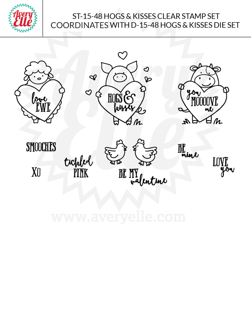 Hogs and Kisses clear stamps example