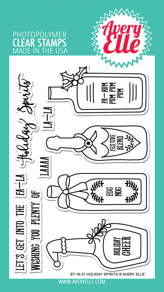Avery Elle Holiday Spirits Clear Stamps