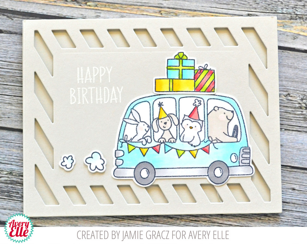 Birthday Bus Clear Stamps & Dies