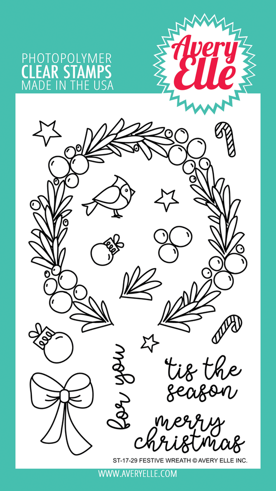 Avery Elle Festive Wreath Clear Stamps