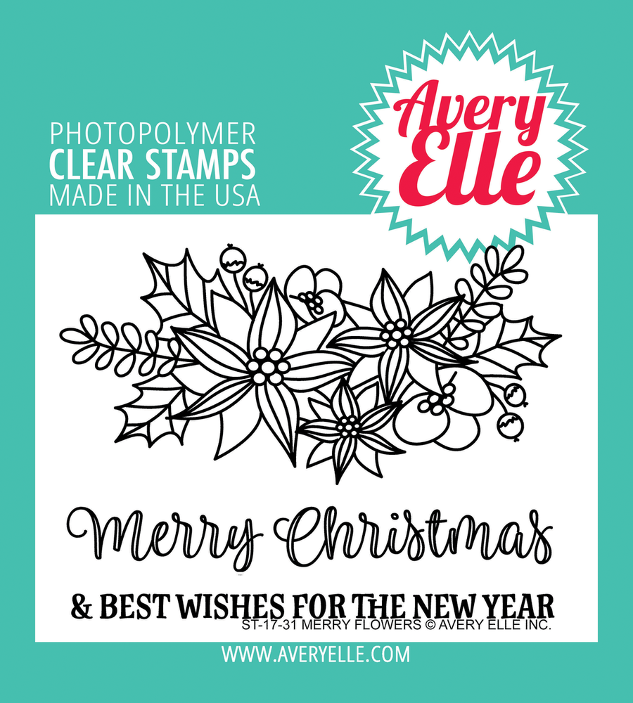 Avery Elle Merry Flowers Clear Stamps