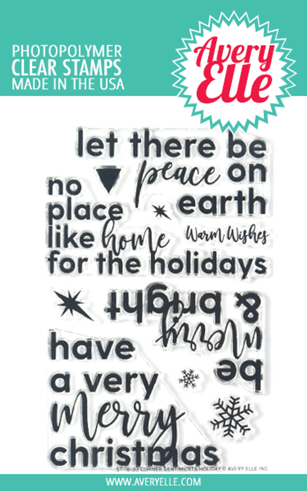 Avery Elle Corner Sentiments Holiday Clear Stamps