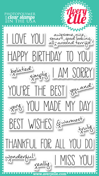 "Our 4"" x 6"" Handwritten Notes clear photopolymer stamp set is perfect for creating custom fun greetings.  The sentiments included in this set are great for every occasion.  The caret stamps allow you to customize and emphasize the greetings as you wish."