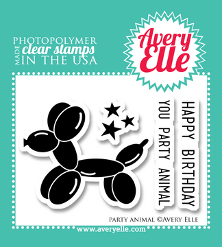 """Our 2"""" x 3"""" Party Animal clear photopolymer stamp set is mini in size but oh so fun.  This set was created in honor of Avery Elle's first birthday in June 2013."""
