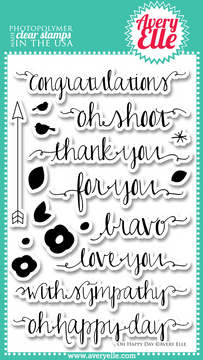 "Use the sentiments in our 4"" x 6"" Oh Happy Day clear photopolymer stamp set  to create gorgeous tags, gifts, cards and scrapbook pages.  With cute and fresh sentiments such as "" oh happy day"" and ""oh shoot"" as well as classics like ""congratulations"", this set will be used time and again."