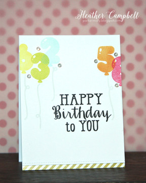 By Heather Campbell for Avery Elle Inc.  Numbered Balloons clear stamps.  Pigment Ink Pads.