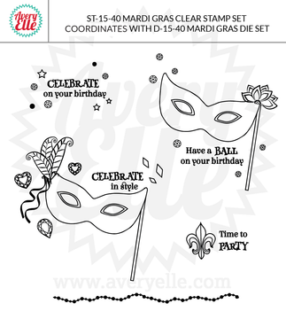 Mardi Gras Clear Stamps Example