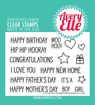 Avery Elle City Celebrations Clear Stamps