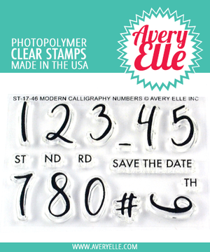 Avery Elle Modern Calligraphy Numbers Clear Stamps