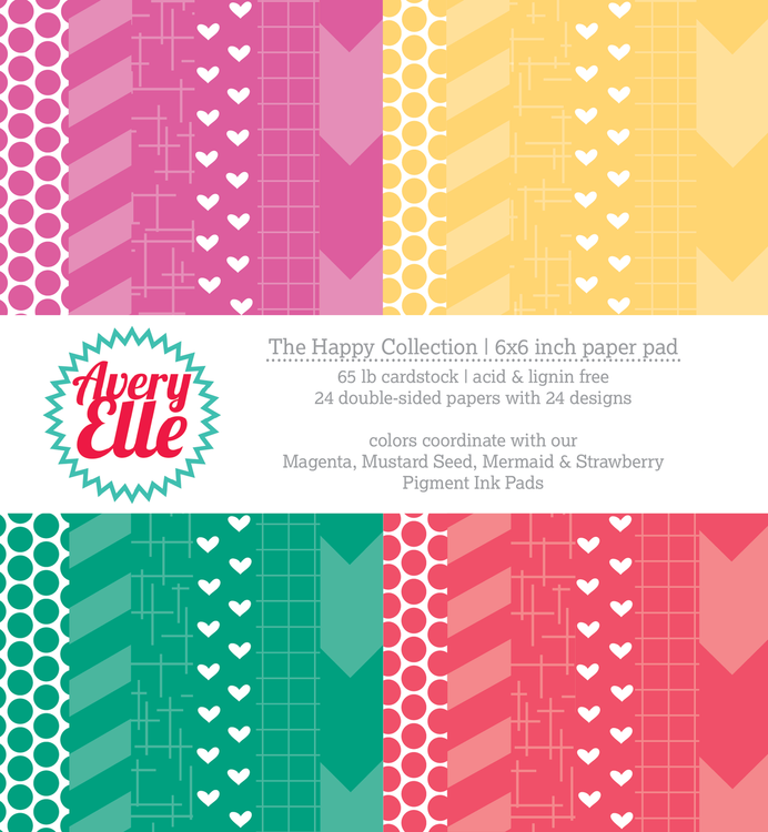 Avery Elle The Happy Collection 6 x 6in patterned paper pad