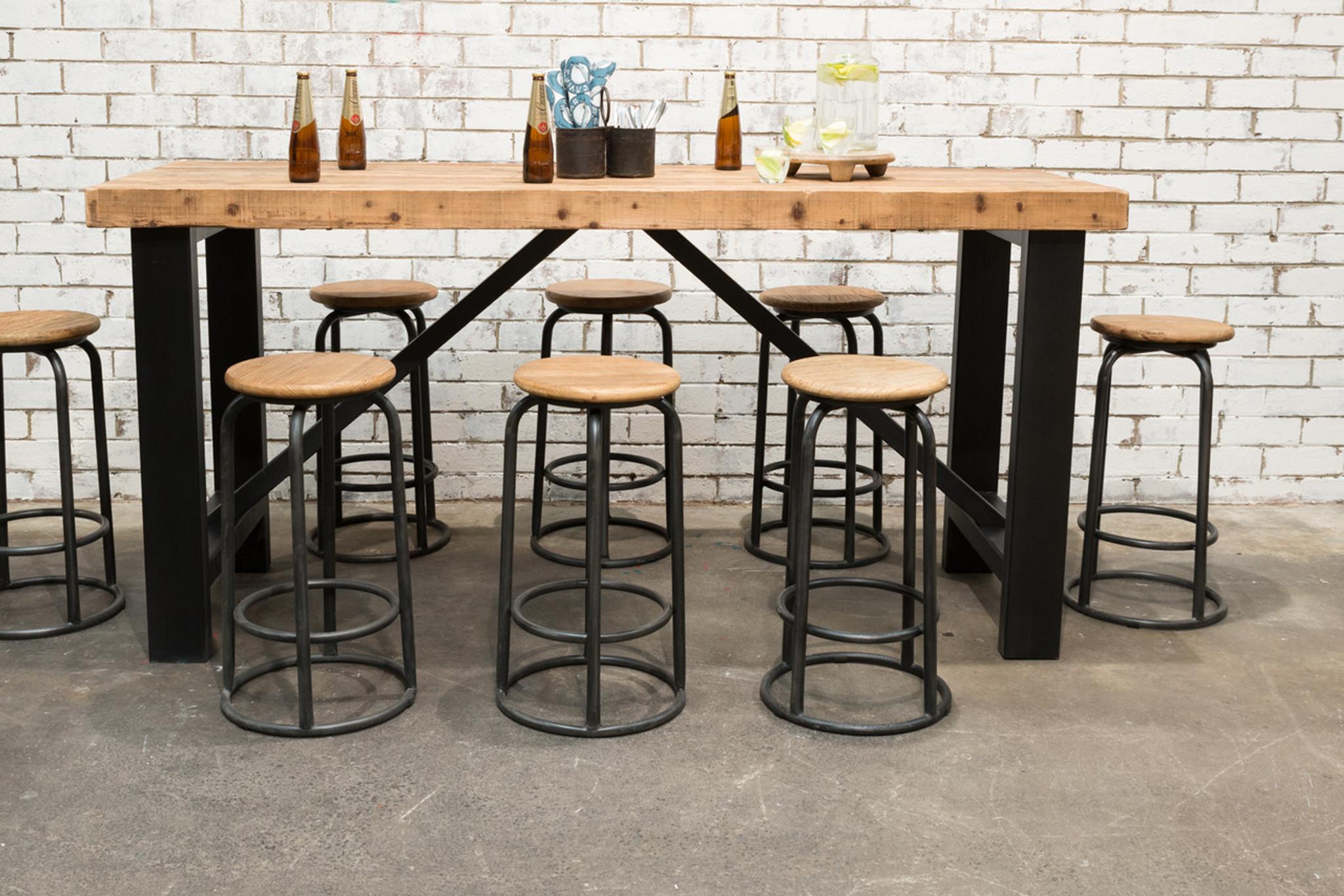 INDUSTRIAL BAR TABLE SET (F031_SET8) & INDUSTRIAL BAR TABLE SET (F031_SET8) - Stone Pony