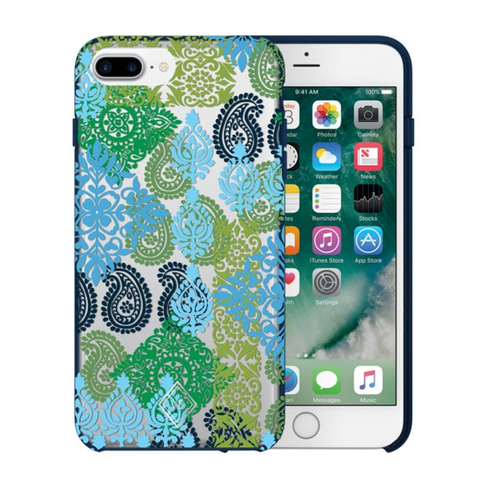 Vera Bradley Flexible Frame Case for iPhone 7 Plus, 6 Plus, 6S Plus - Caribbean Sea Multi Blue / Clear