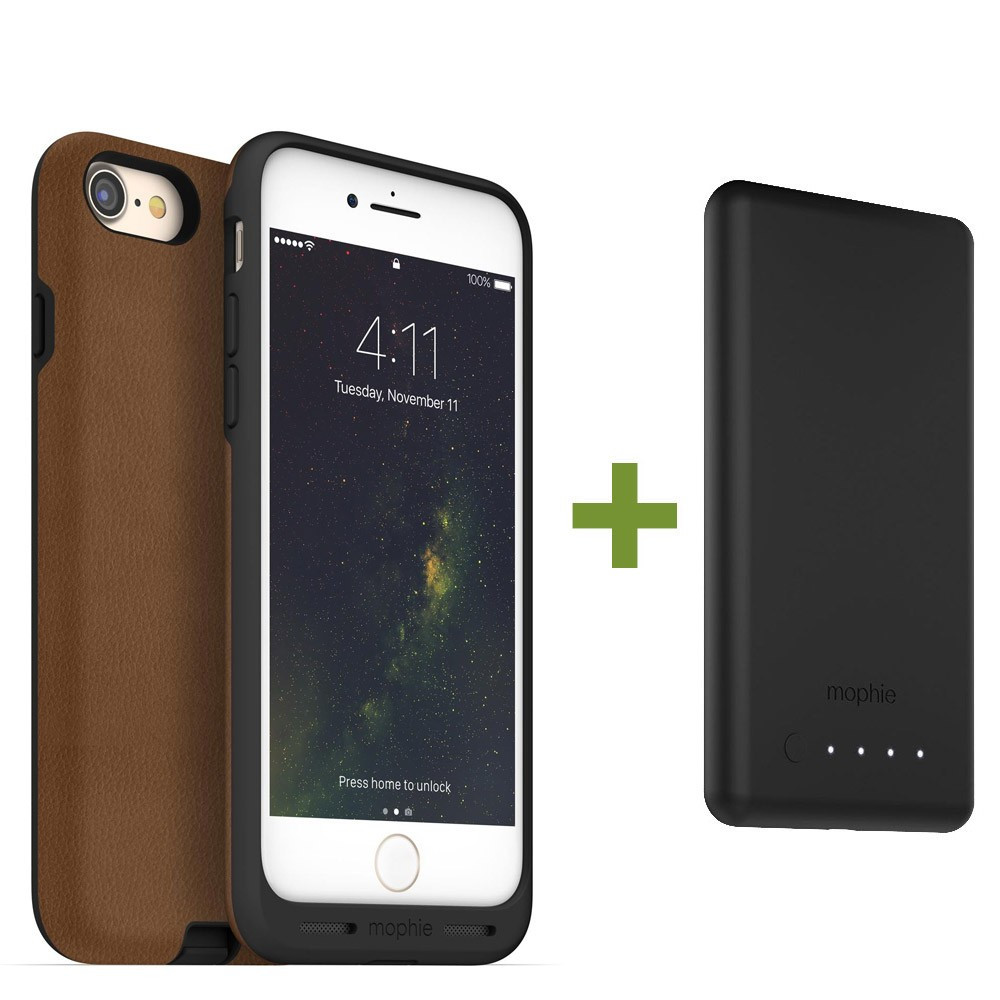 mophie  Charge Force Wireless Charging Bundle - Case / Base for iPhone 8 Plus / 7 Plus - Tan