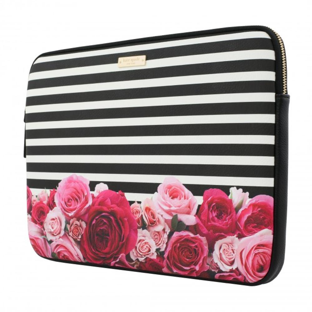 "kate spade new york Printed Laptop Sleeve for 13"" MacBook - Photo Real Rose Stripe Black/Cream"