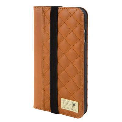 Hex Icon Wallet for iPhone 7 - Brown Quilted Leather