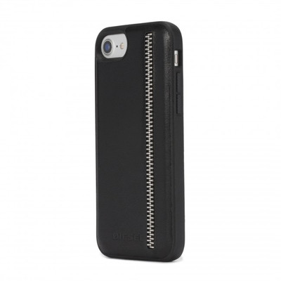 Diesel Leather Co-Mold Case Case for iPhone 8, iPhone 7 & iPhone 6/6s -Zip Black Leather