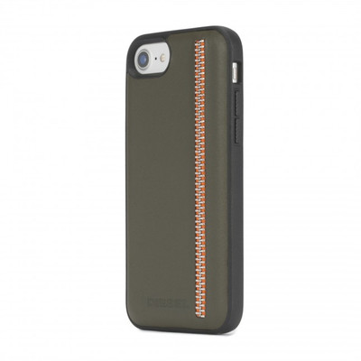Diesel Leather Co-Mold Case for iPhone 8, iPhone 7 & iPhone 6/6s - Zip Olive Leather/Orange