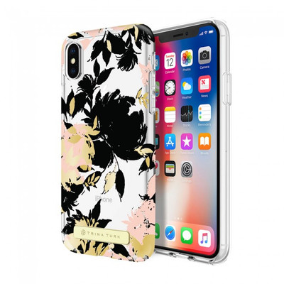 Trina Turk Translucent Case for iPhone X - Wintergarden Black/Blush/Gold Foil/Clear