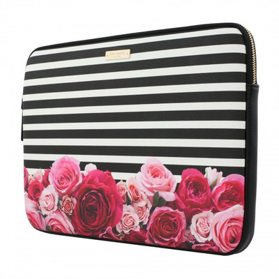 "kate spade new york Printed Laptop Sleeve for 13"" MacBook - Photo Real Rose Stripe Black/Cream"