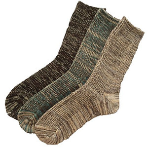 Lian LifeStyle Men's 3 Pairs Pack Wool Socks Assorted Mixed Color Size 8-11 Men's Clothing