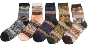 Lian LifeStyle Men's 5 Pairs Pack Wool Crew Socks Classic Square Size 7-9 Men's Clothing