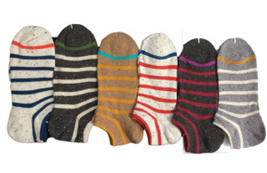 Lian LifeStyle Men's 6 Pairs Pack Low Cut Cotton Socks Striped Size 8-10